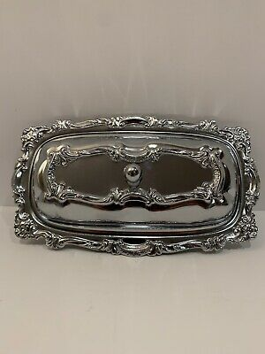 Vintage 3 Piece Stainless Steel Butter Dish With Lid & Glass Insert