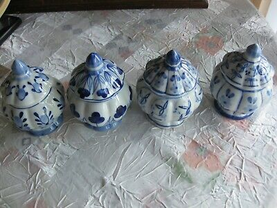Set of 4 Vintage Miniature Blue and White Ginger Jar - Hand Painted in Thailand