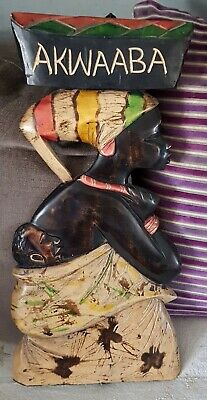 Vintage African wooden carved wall hanging