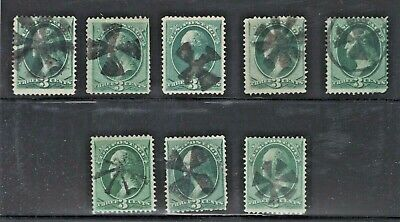"""3 Cent """"Large"""" Banknotes - 8 Stamps - Fancy Pinwheel Cancel (JH 5/27)"""