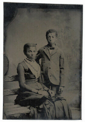 African American Black Woman & Her Son Tintype Antique Photo