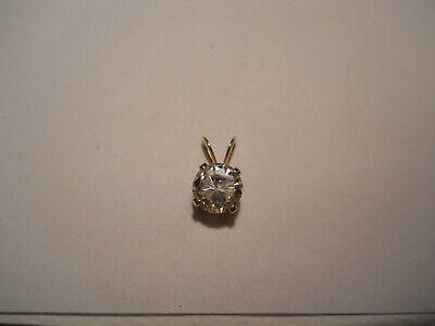 Estate Gold Clear Gemstone Pendant 14k Yellow Gold 14kt Wear or Scrap 0.7gr X