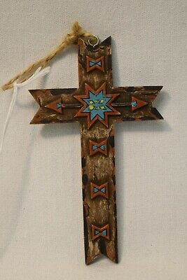 Resin Southwestern Cross Holiday Ornament W/Teal & Red Accents Christmas Decor