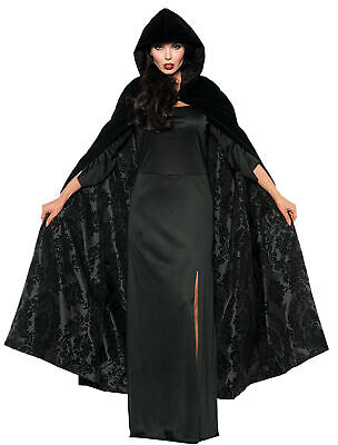 Cape Velvet Satin Black Ad  Costume