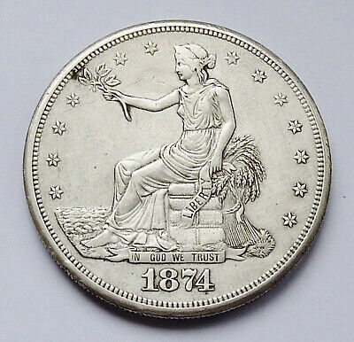 1874-S U.s. Liberty Seated Trade Dollar ~ Extra Fine Condition - Cleaned