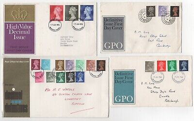 1967 - 1971 GB QEII - 4 x First Day Covers DEFINITIVES Decimal & Pre-decimal