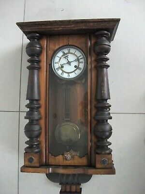 Antique Vienna Wooden Pendulum Wall Clock.