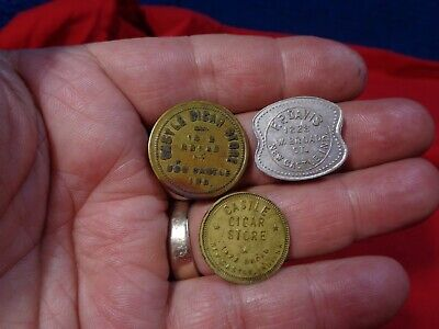 ~*~Attic Find~*~. 3 Antique Indiana Trade Tokens  Cigar & More
