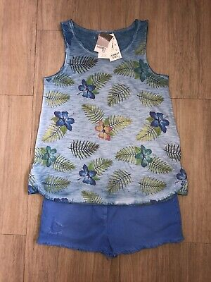 Blue Hibiscus Flower Vest Top T-shirt & Denim Blue Dyed Shorts Next Age 13 BNWT