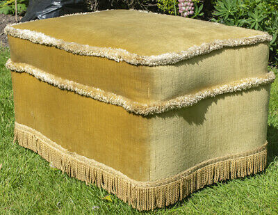 Antique vintage mustard gold cotton velvet pouffe / footstool