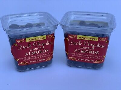 2 PACK Trader Joes Dark Chocolate Covered California Almonds Candy