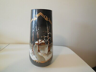 Large Hand Painted Milk Glass Winter Scenic Vase
