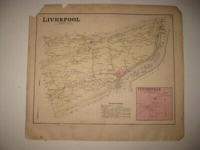 Antique 1877 Juniata Liverpool Township Perry County Pennsylvania Handcolor Map