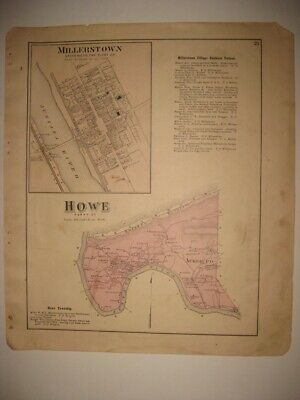 Antique 1877 Jackson Howe Township Millerstown Perry County Pennsylvania Map Nr
