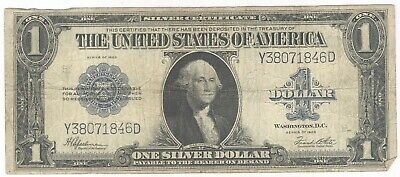 1923 $1.00 Silver Certificate Note + Y38071846D + Backplate # 4827 + No Reserve!