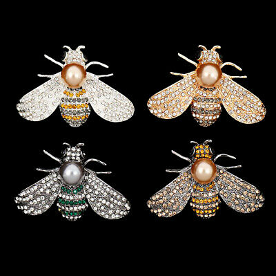 2 Pieces Flatback Rhinestones Faux Pearl Bee Buttons for Crafts Embellishments