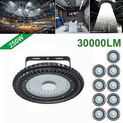 10X 250W UFO LED High Bay Light lamp Factory Warehouse office Roof Shed Lighting