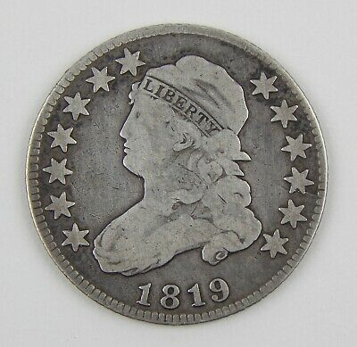 1819 25c Capped Bust Small 9 Silver Quarter VG Very Good Circulated Coin A9633