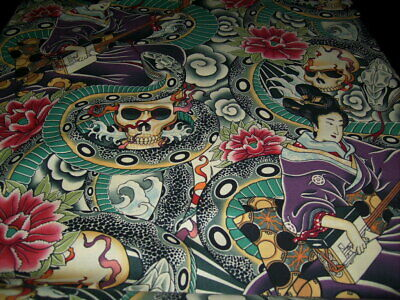 Fabric by the 1/4 yard Zen Charmer tattoo skulls snake Geshia