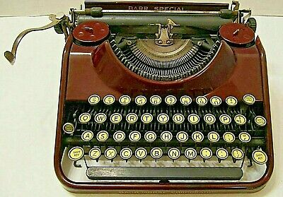 Vintage Old Barr Special Maroon Portable Typewriter With Case