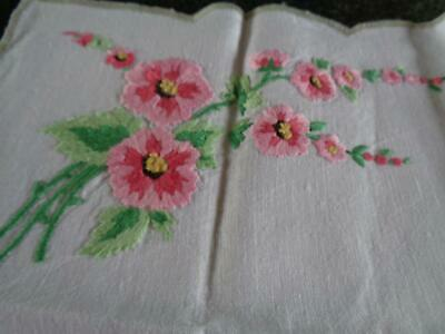 Gorgeous Vintage Hand Embroidered Apple Blossom Sprays Soft Linen Tray Cloth