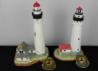 2 Geo. Z Lefton lighthouses New Presque Isle Wind Point hand painted porcelain