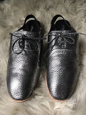 Jeffrey Campbell Daniel Black Patent Red Silver Studded Loafer Pointed Toe Mule