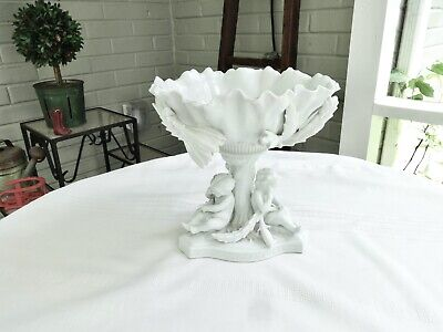 Antique Continental Stoneware Center Serving Bowl Compote W/Cherubs