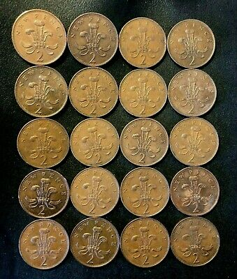 Vintage Great Britain Coin Lot - 1971-1980 - 2 PENCE - OLD TYPES - Lot #M27