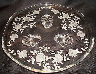 "Vintage Fostoria Glass Willowmere #333 Etching 8 ¼"" Three 3 Footed Tray Plate"