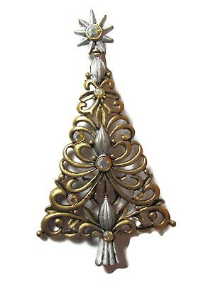 Beautiful Vintage JJ Jonette Filigree Christmas Tree Brooch Pin AB Rhinestones