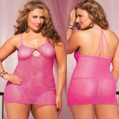 Plus Size Lingerie Sexy One Size Queen Pink Mini Dress Chemise STM9670X