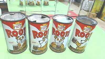 4-Vintage- Canada Dry- Rooti -Root Beer 12oz Straight Steel Can-FLAT-TOP- differ