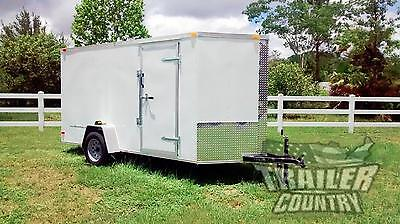 NEW 2020 6 x 12 V-Nosed Enclosed Cargo Motorcycle Trailer w/Ramp & Side Doors