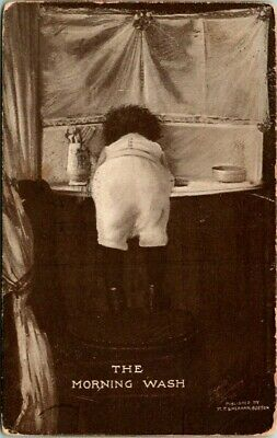 C36-6816, The Morning Wash, Comic, C1900-10S Postcard,