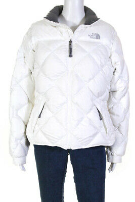 The North Face Womens Long Sleeve Full Zip Quilted Jacket White Size Medium