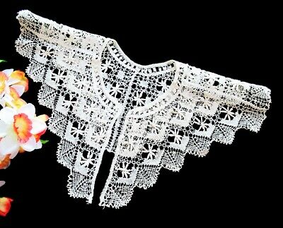 Lovely Antique Handmade Lace Collar - Cream Belgian Torchon Bobbin Lace