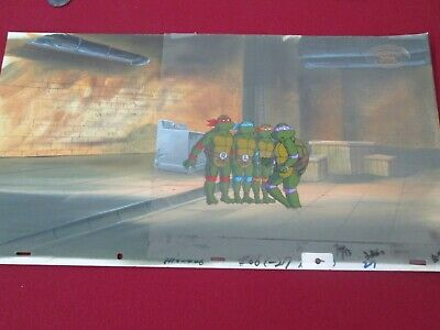 TMNT Teenage Mutant Ninja 4 Turtle cel on production 20 in. pan Background