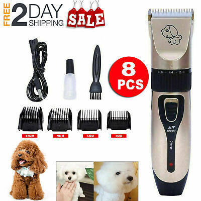 8PCS Electric Grooming Clippers Pet Hair Shaver Trimmer Groomer Set Dog Cat