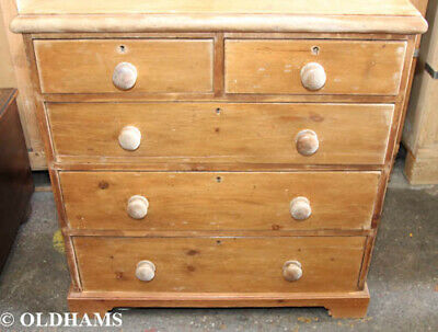 Lovely Antique Pine Chest of Drawers - 2 over 3 - Victorian