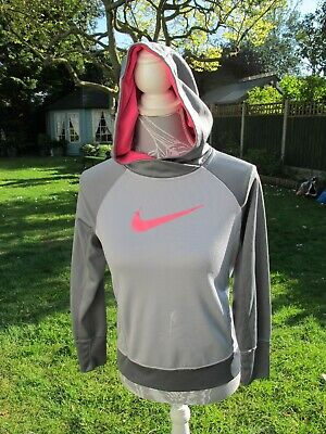Girls Junior NIKE Hoodie, Grey with pink. Aprox for age 12 years. XSmall