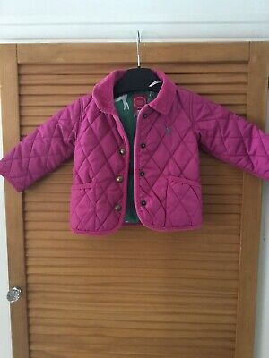 Joules Baby Girls Pink Quilted Jacket Coat Age 6/9 Months Cute Smart