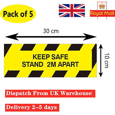 Social Distancing Floor Stickers KEEP SAFE STAND 2M APART Window Warning Signs