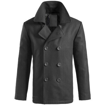 Brandit James Coat Warm Windproof Casual Lined Collar Long Trench Jacket Grey