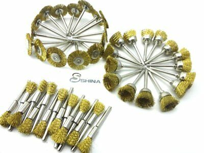 45 pack Brass Wire Brush Wheel Cup Drill Attachments Edges Rust Removal