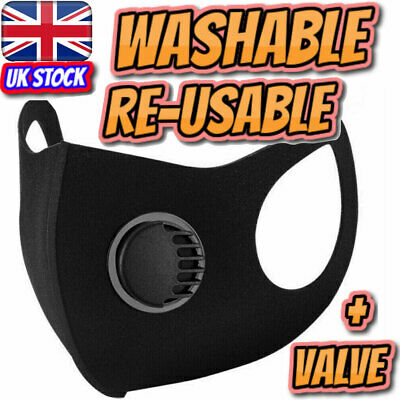 Black Face Mask Washable Air Purifying Mouth Nose Filter Respirator UK Seller
