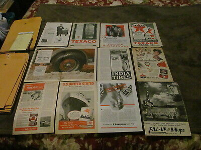 Fabulous Lot Of 11 Vintage Magazine Ads - 1920's-1950's - Tires, Texaco & MORE!!