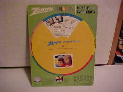 Vintage Zenith Color TV Operating Instructions SPIN Wheel CA. 1969
