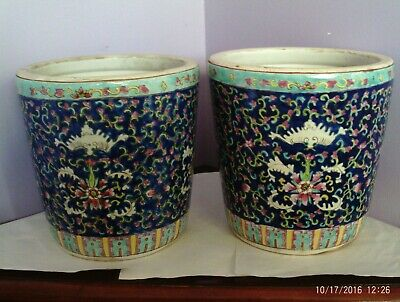 Fab Antique Large Pair Chinese Hand-Painted Bat & Flower Planters 21 Cms Tall