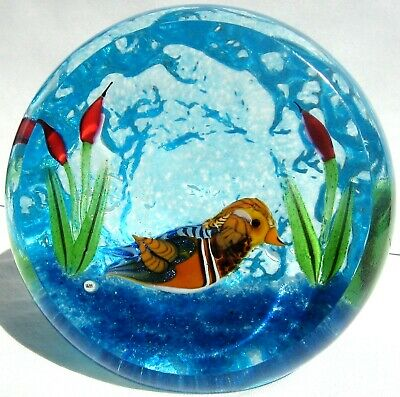 Briefbeschwerer Paperweight WILLIAM MANSON SNR Mandarinente 2000, facettiert!